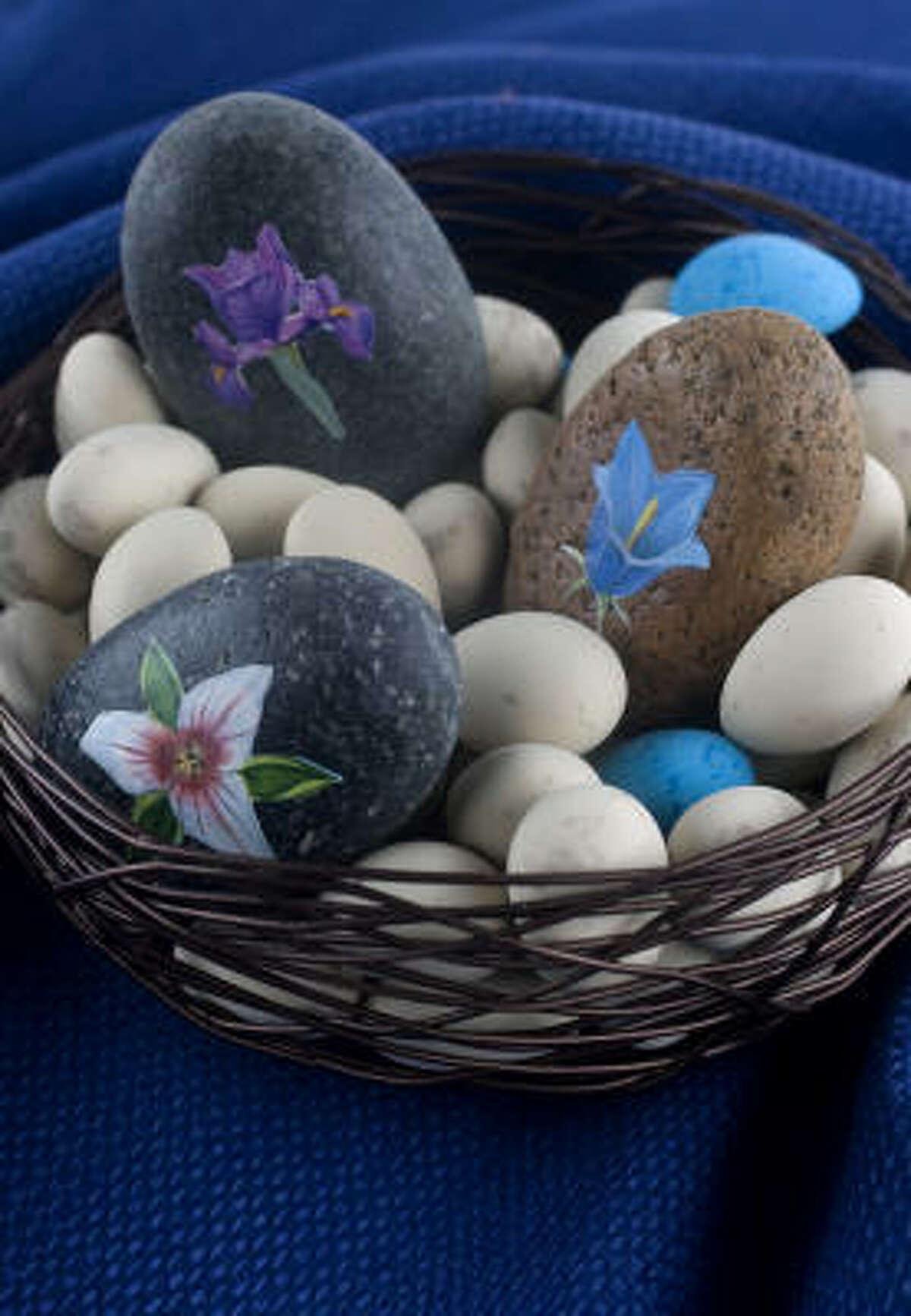 A basket of decoupage rocks makes a pretty tabletop display.