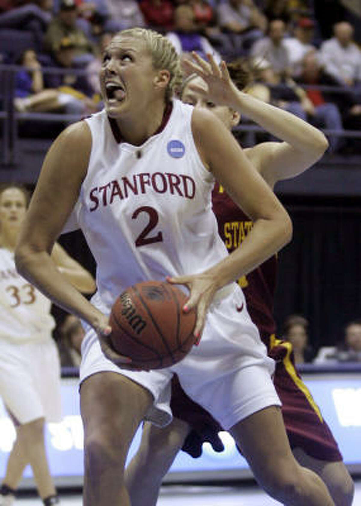 Berkeley (Calif.) Region, Regional Finals: Stanford 74, Iowa State 53 Stanford forward Jayne Appel (2) drives to the basket in the first half.