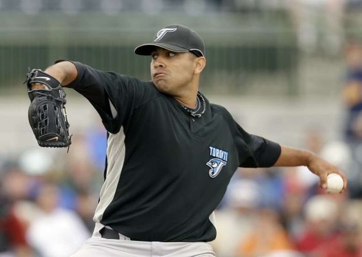 Blue Jays pitcher Ricky Romero allowed eight hits but walked none. Reliever Jeremy Accardo picked up the loss.