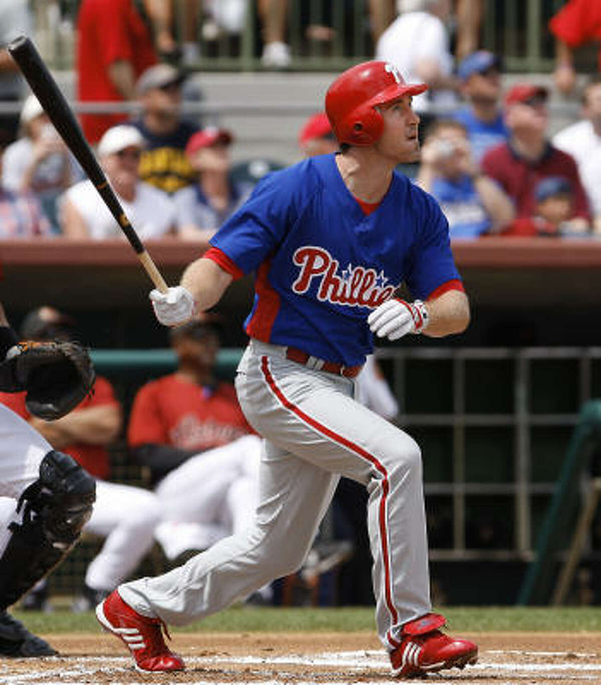 Phillies second baseman Chase Utley watches the ball as he flies out in the first inning.