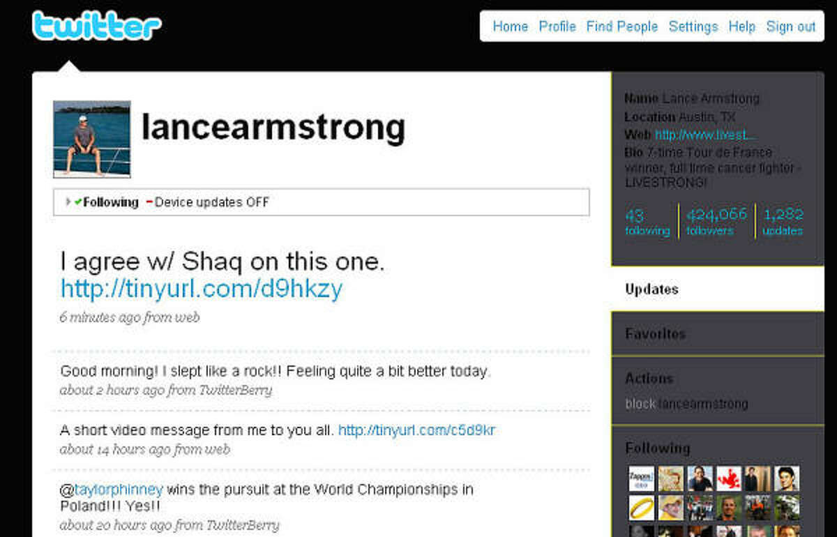 Cycling legend Lance Armstrong is one of the most popular athletes on Twitter.