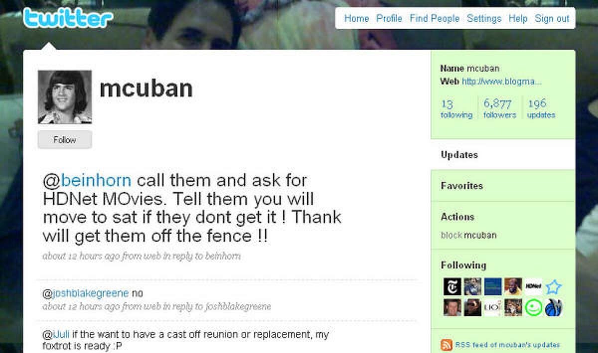 Dallas Mavericks owner Mark Cuban, noted for his outspoken blog, also tweets.