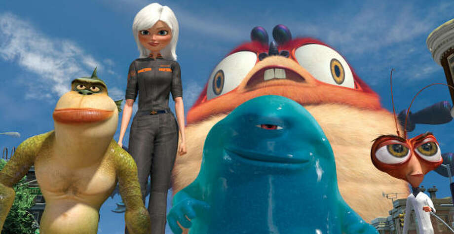 These Monsters, including, The Missing Link (Will Arnett, from left), Ginormica (Reese Witherspoon), B.O.B. (Seth Rogen), Insectosaurus and Dr. Cockroach, Ph.D. (Hugh Laurie) are defenders of the planet in Monsters vs. Aliens. Photo: DreamWorks