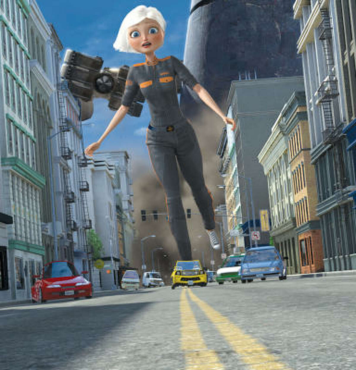 Ginormica (Reese Witherspoon) evades the alien robot by donning taxicab skates in Monsters vs. Aliens.