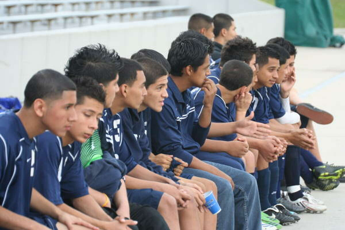 A shot of Aldine soccer players from the bench.