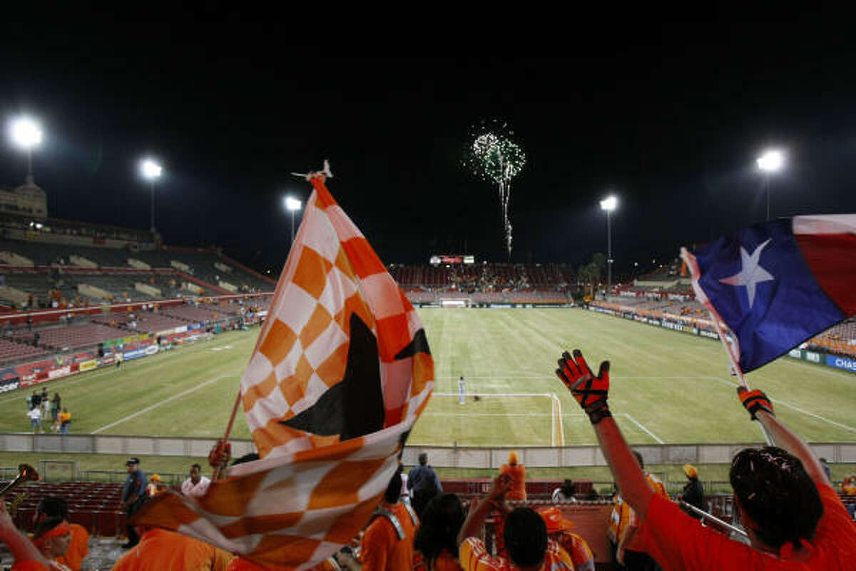 The Texian Army celebrates the return of another season of Dynamo soccer at Robertson Stadium.