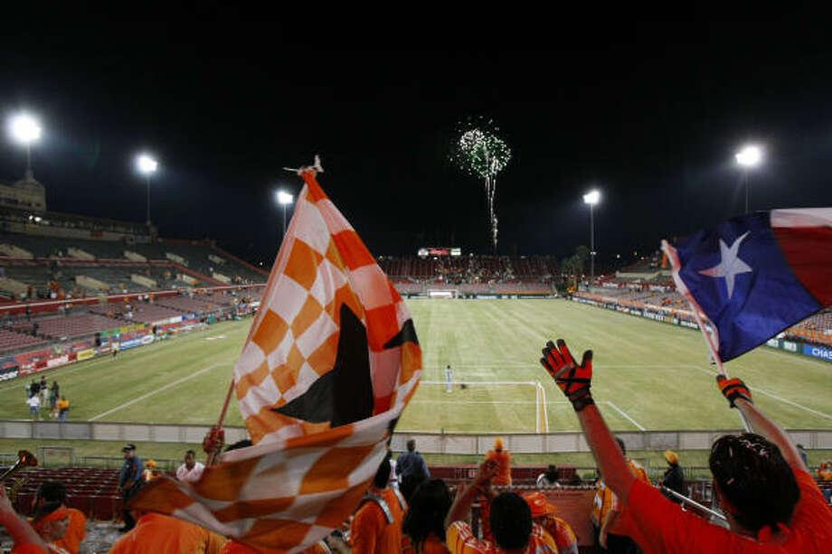 The Texian Army celebrates the return of another season of Dynamo soccer at Robertson Stadium. Photo: Johnny Hanson, Chronicle