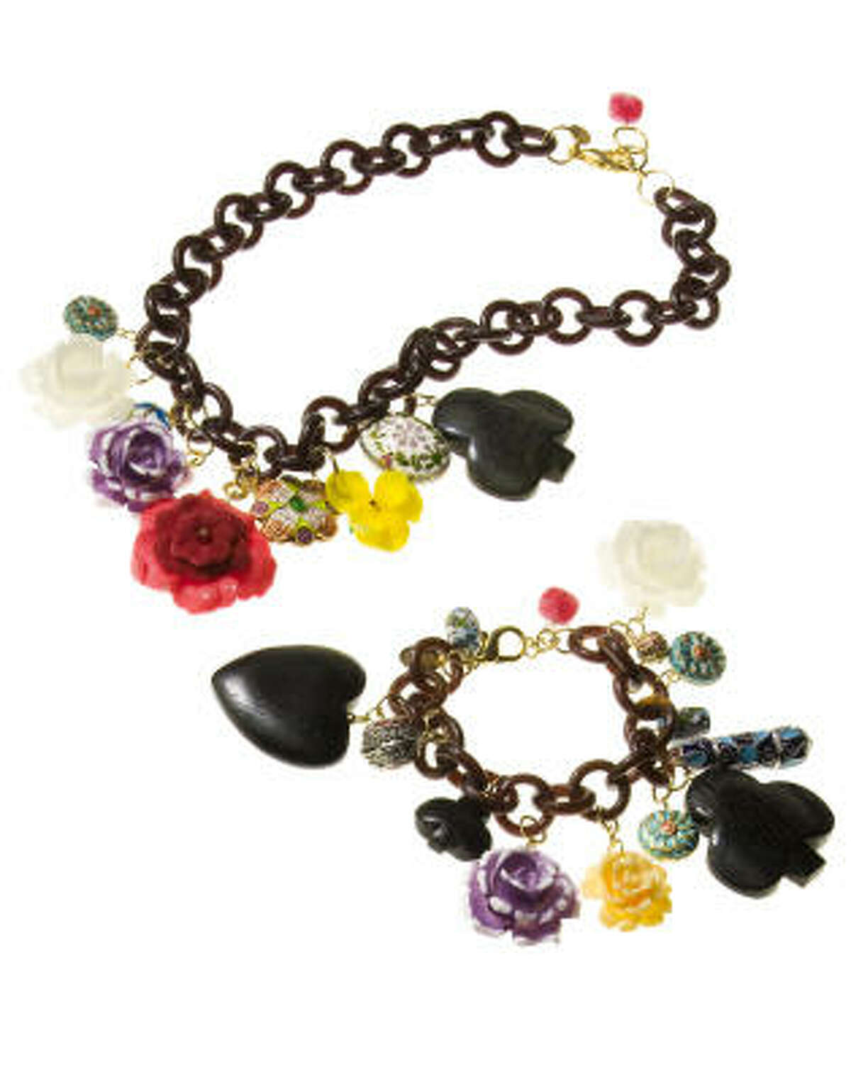 Erickson Beamon's flower charm necklace, $39.99, and and flower charm bracelet, $29.99, from Target.