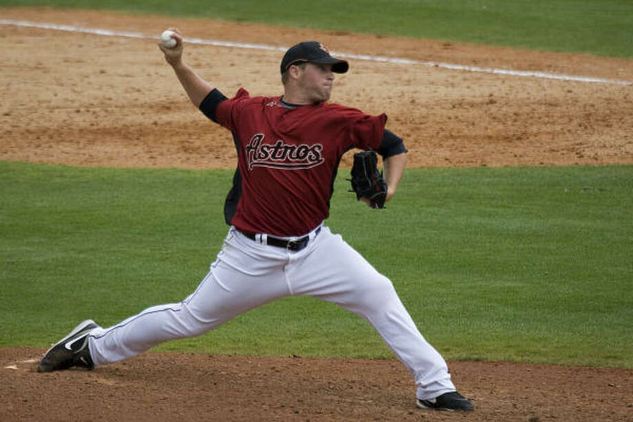Pitching prospect Bud Norris allowed one run in his two innings of work. Photo: Smiley N. Pool, Houston Chronicle
