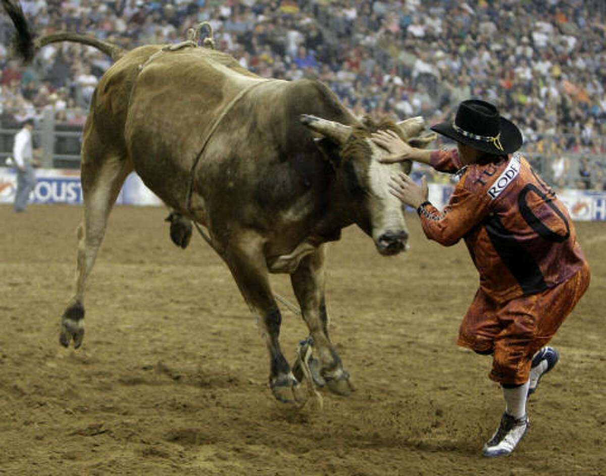 Bull fighter Dusty Tuckness tangles with a bull after rider was bucked off during Xtreme Bulls at the Houston Livestock Show and Rodeo.