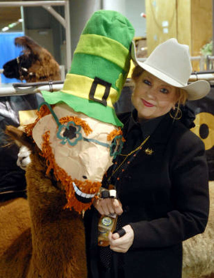 Cynthia Masters and her costumed llama are the Houston Livestock Show & Rodeo. Photo: Dave Rossman, For The Chronicle