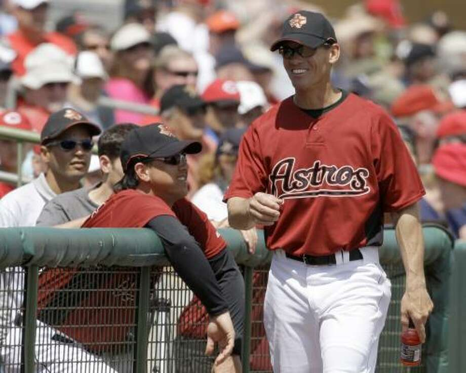 Former Astros player Craig Biggio was with the team for the game against the Reds. Photo: Rob Carr, AP