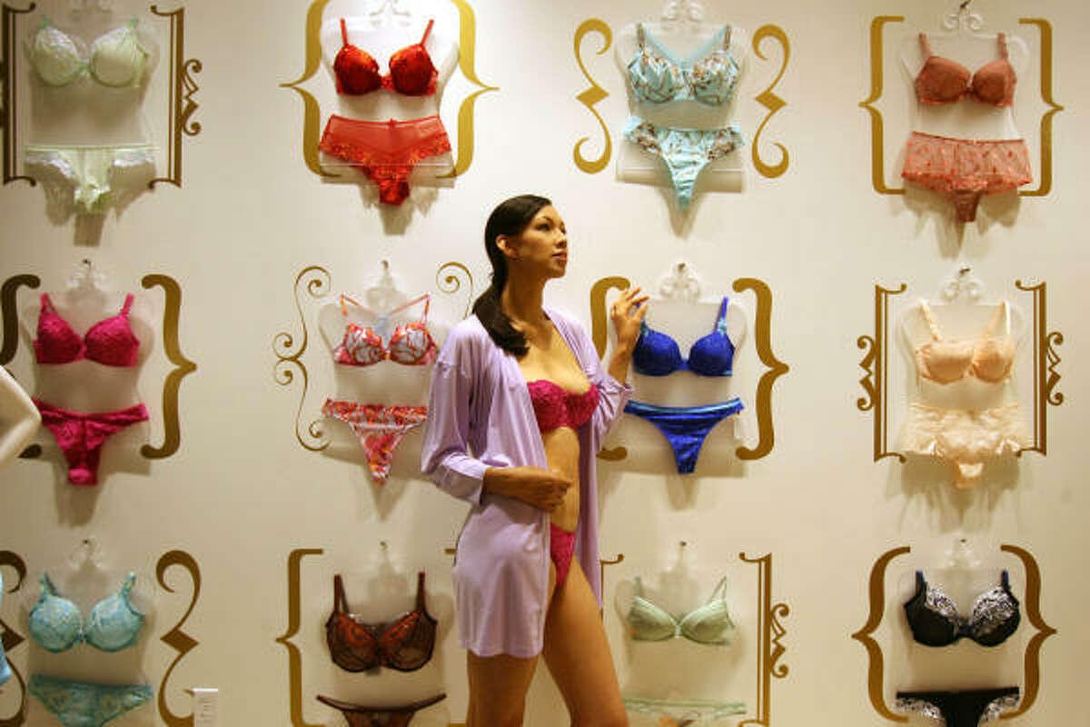 Marissa Salazar models a bra in Intimacy.