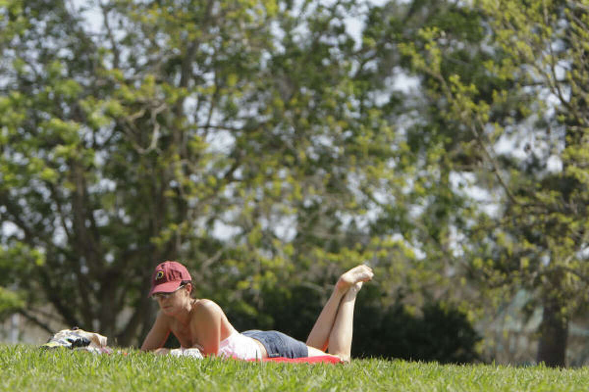 Lisa Jerome of Katy enjoys the nice weather at Memorial Park.