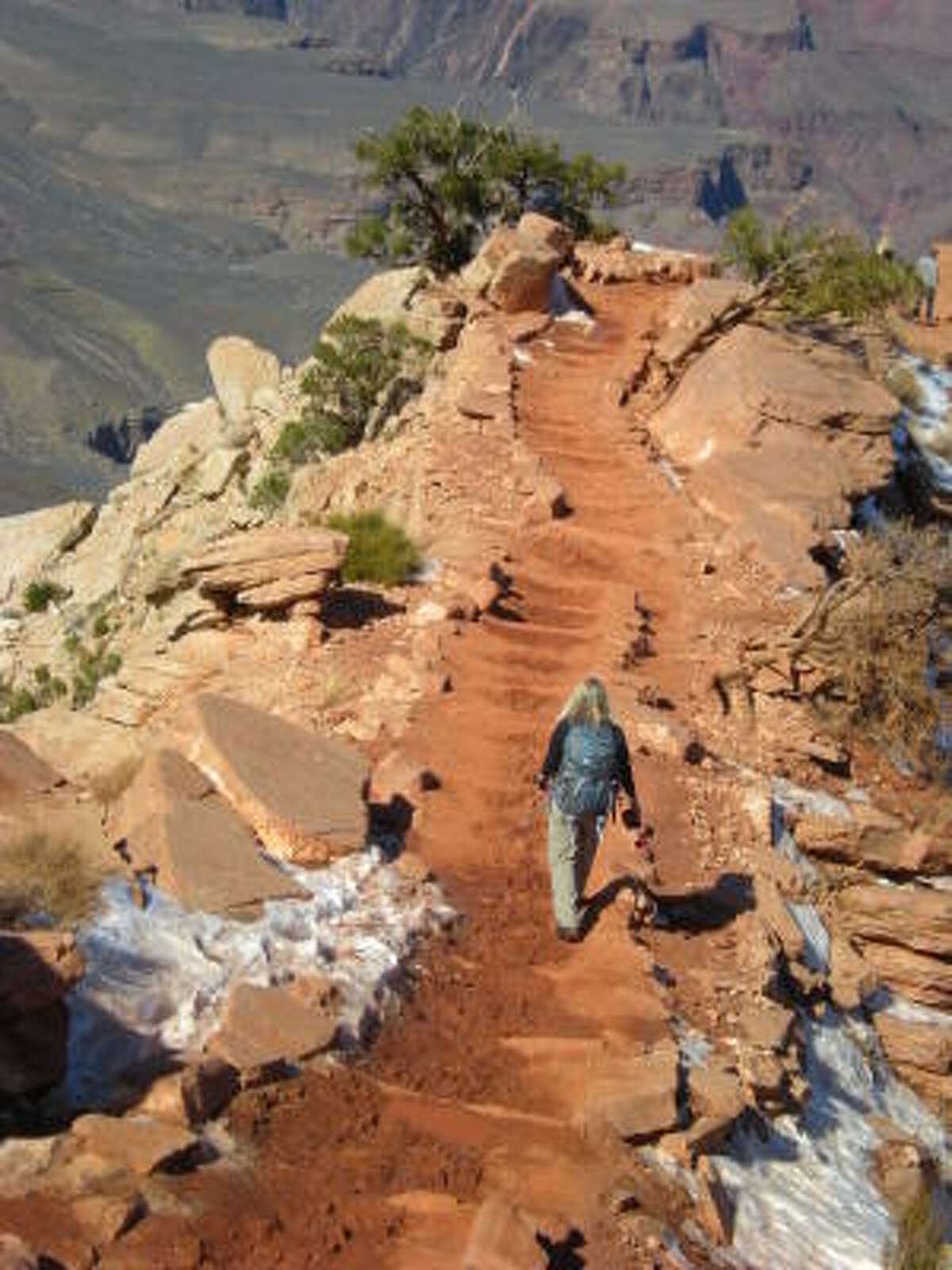 Hiking the Kaibab Trail down to the canyon.