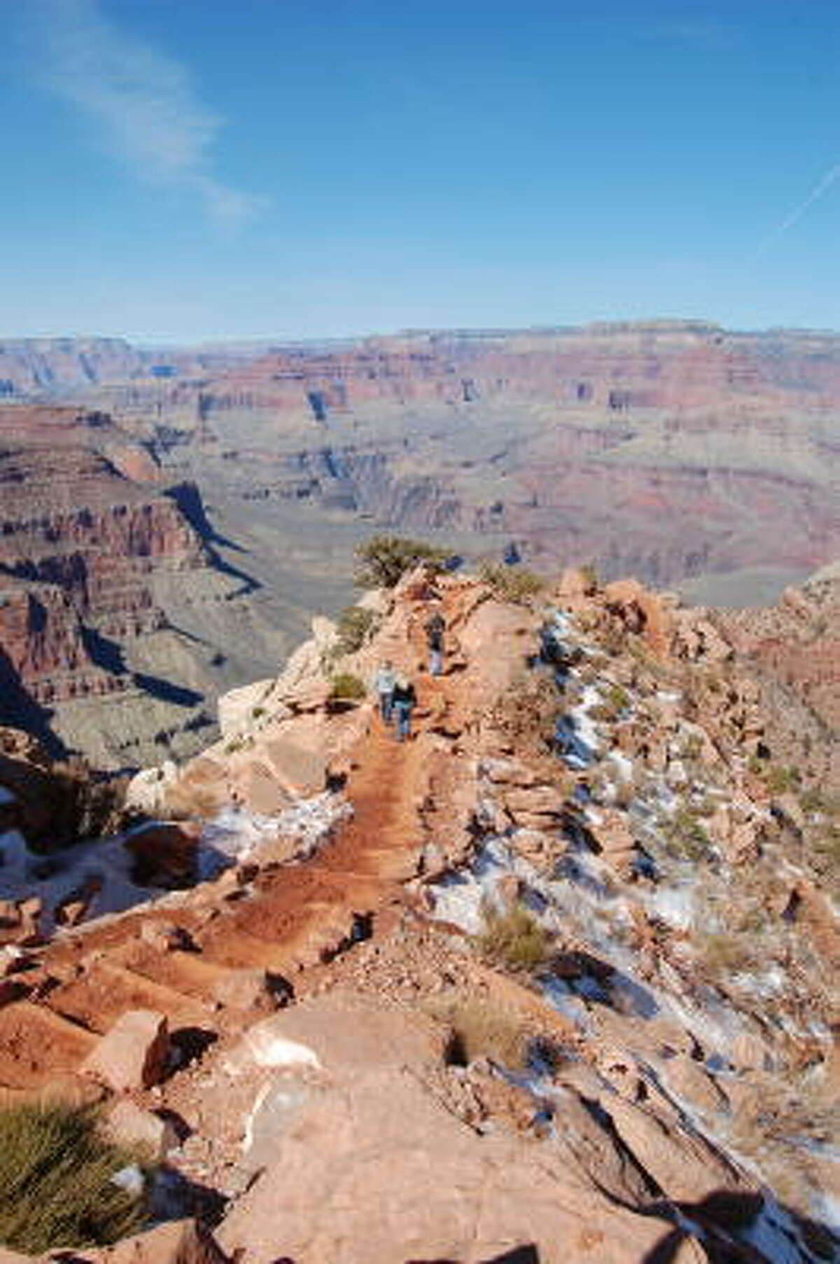 Steep switchbacks mark the Kaibab Trail on the south rim of the Grand Canyon.