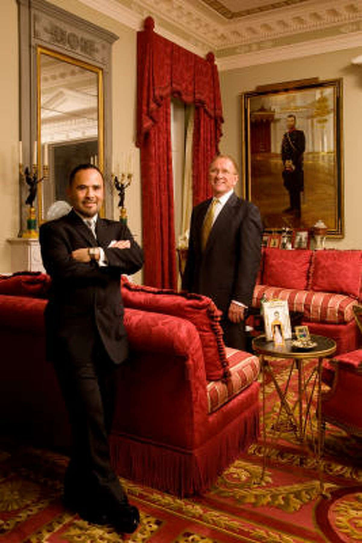 Larry Hokanson, right, is proud of the River Oaks home he and designer Michael Siller made fit for Russian czars. Today they live in a more modest home near Memorial Park.