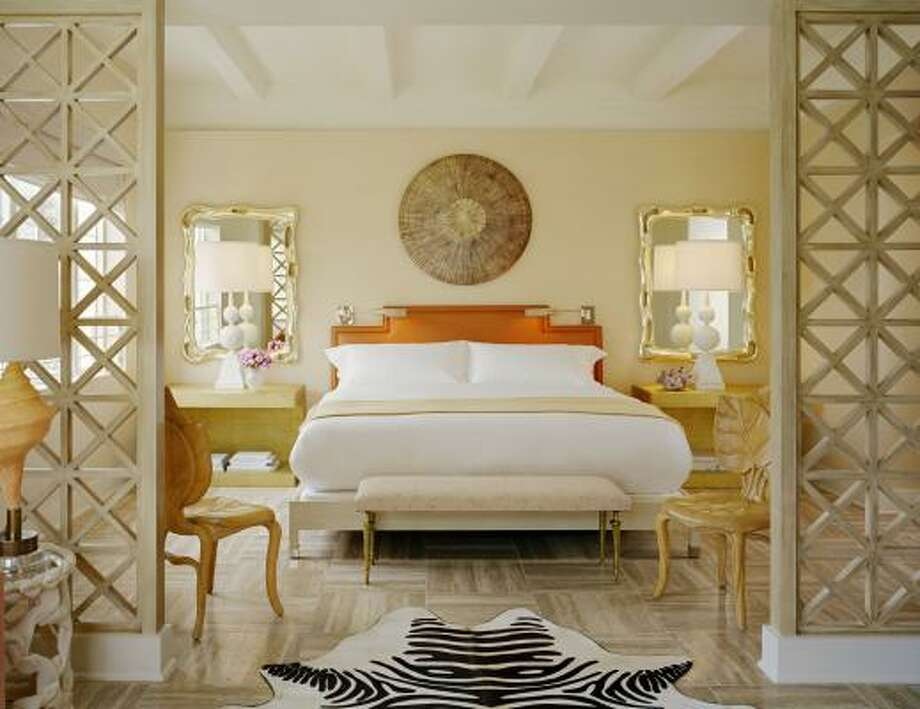 Noted designer Kelly Wearstler gave The Tides South Beach, a boutique hotel in Miami, a glamorous makeover — complete with faux zebra rugs. Photo: Kor Hotel Group