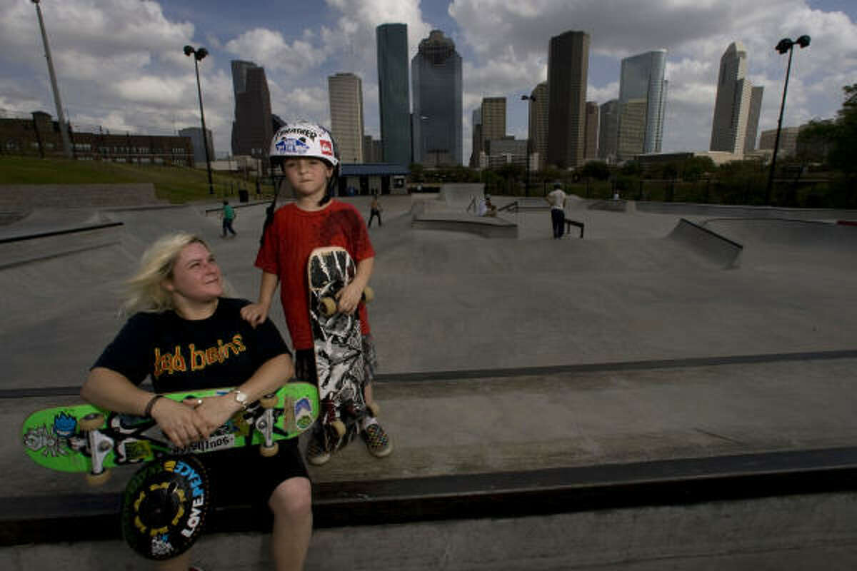Now she's 36 and a mom. Dylan, her four-year-old, owned his first skateboard before he could walk