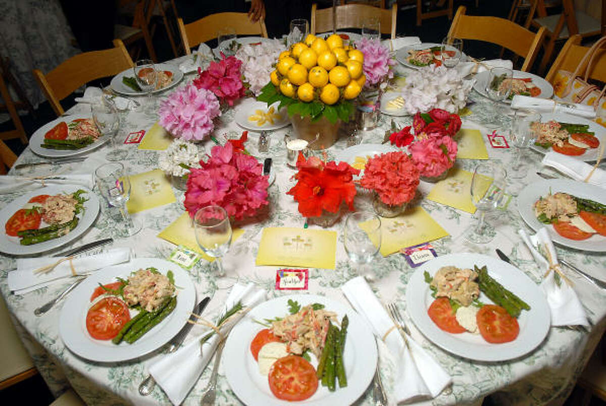 One of the tables was decorated with fresh flowers from the garden of Carol Linn.
