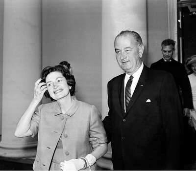 President Lyndon  B. Johnson and his wife arrive at St. John's Episcopal Church in Washington in this May 1964 file photo. Photo: AP