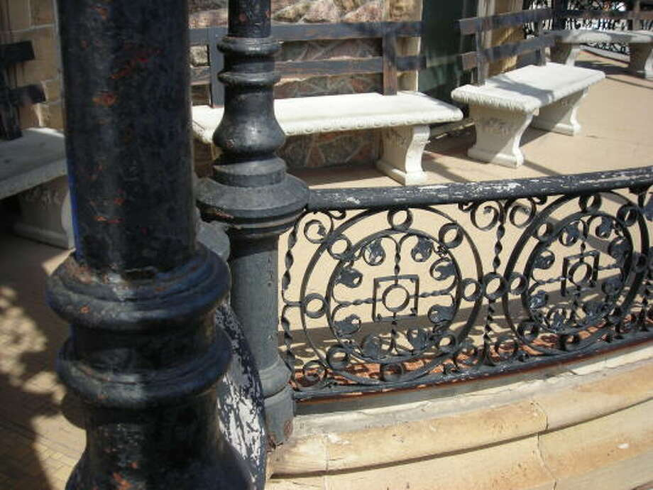 Here's a look at some of the intricate raililng on the front porch of the Bishop's Palace. Photo: Mike Madere, Houston Chronicle