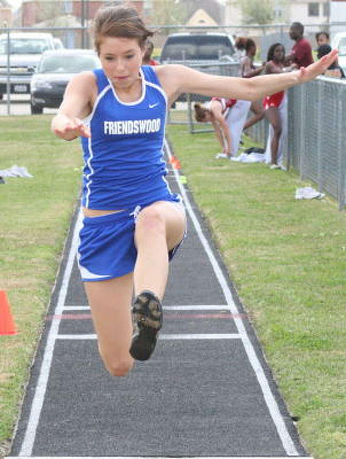 Kelsey Wood of Friendswood takes flight.