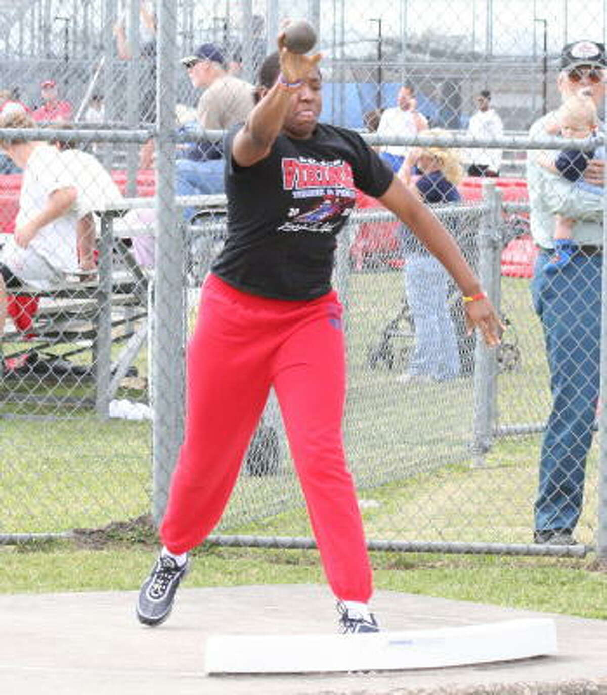 Kelsey Bone of Dulles threw into first place.