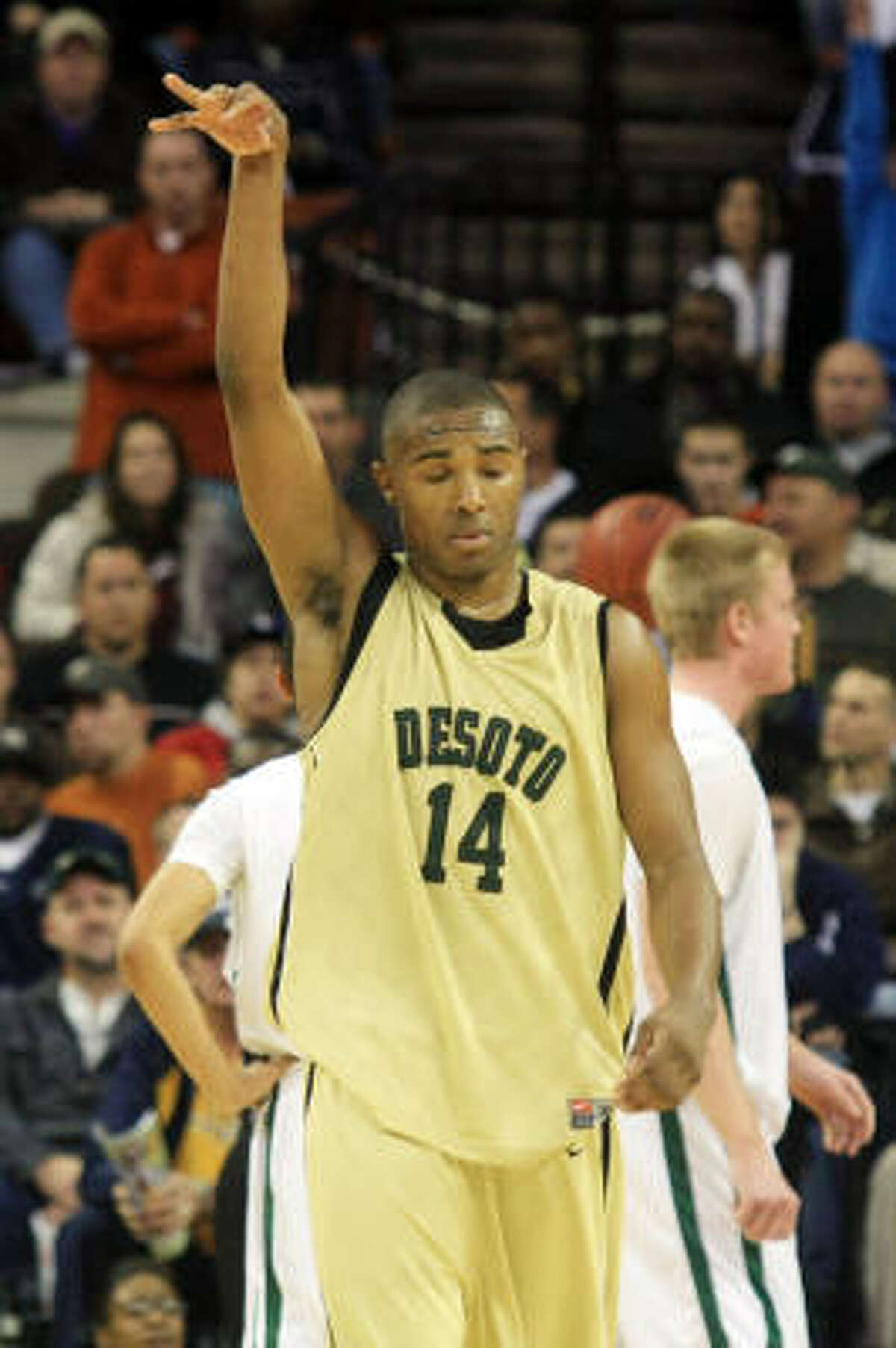 DeSoto's Darius Terrell gestures after making his free throw, the final point of the game against Strake Jesuit.