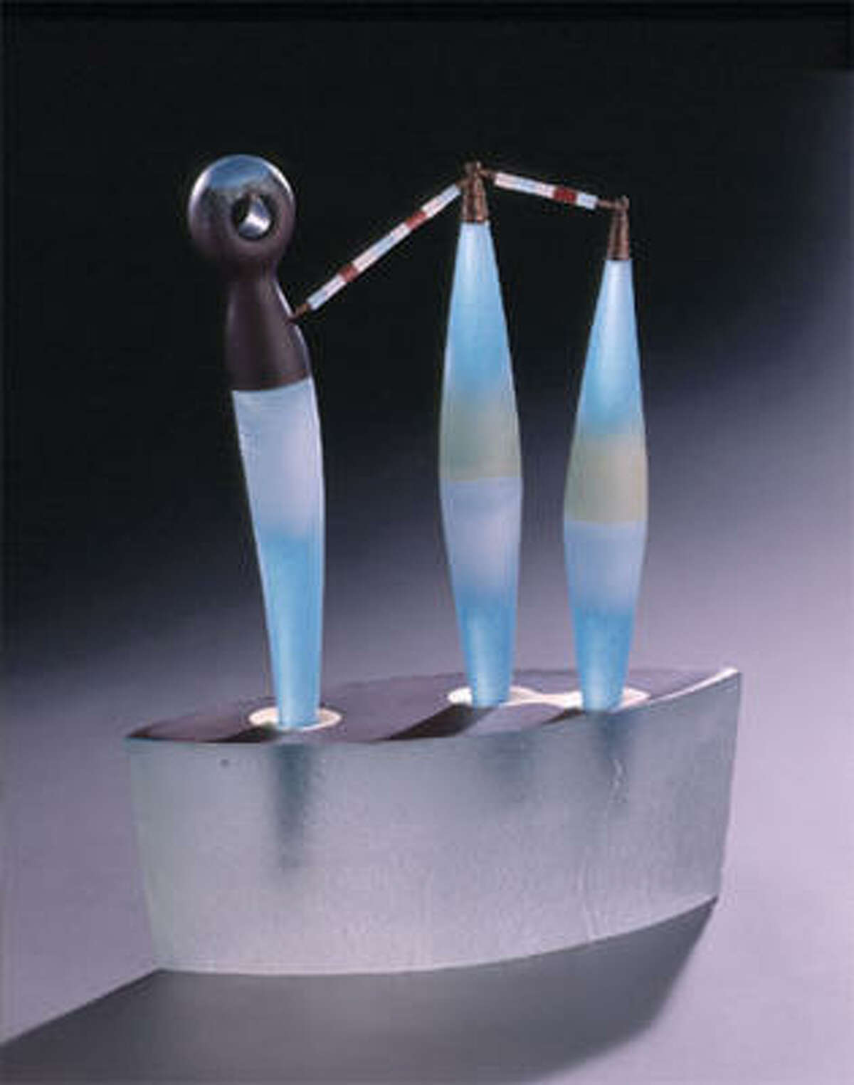 José Chardiet, Junto, 2005. Blown and hot-sculpted glass with sand-cast base.
