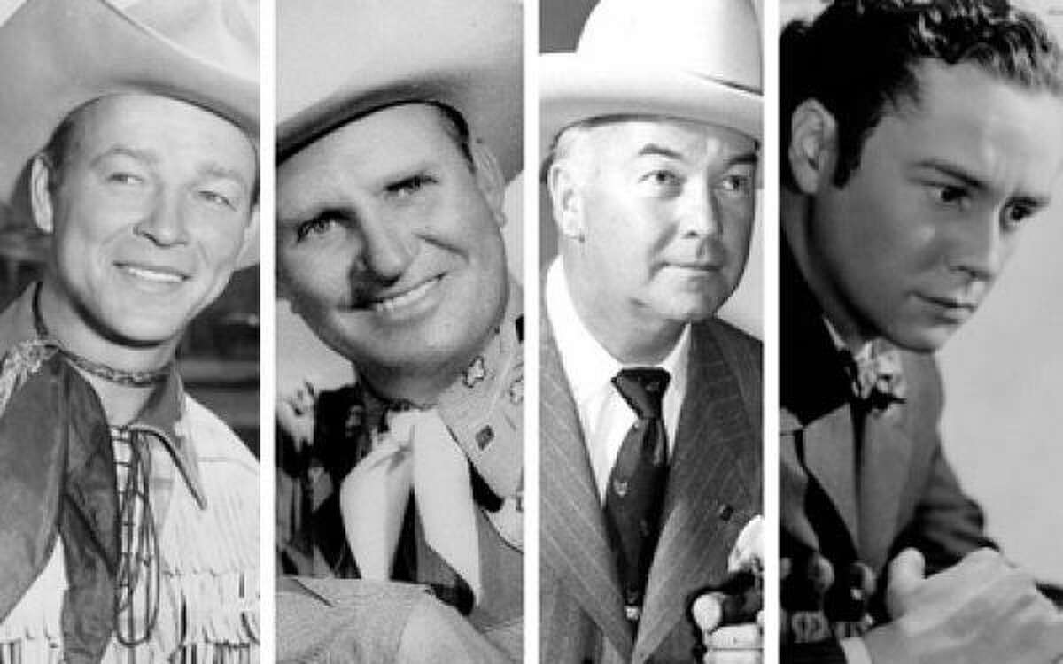 10. Roy Rogers/Gene Autry/William Boyd/Tim Holt: (left to right) This is that exception, a nod to dozens of Saturday morning B western heroes. For my rainy-day trail rides these four are the saddle pals of choice. Athletic, handsome Rogers and easy-going guy next door Autry lead the singing cowboys. Fatherly Boyd (Hopalong Cassidy) and boyish Holt stand tall for the straight (non-singing) shooters.