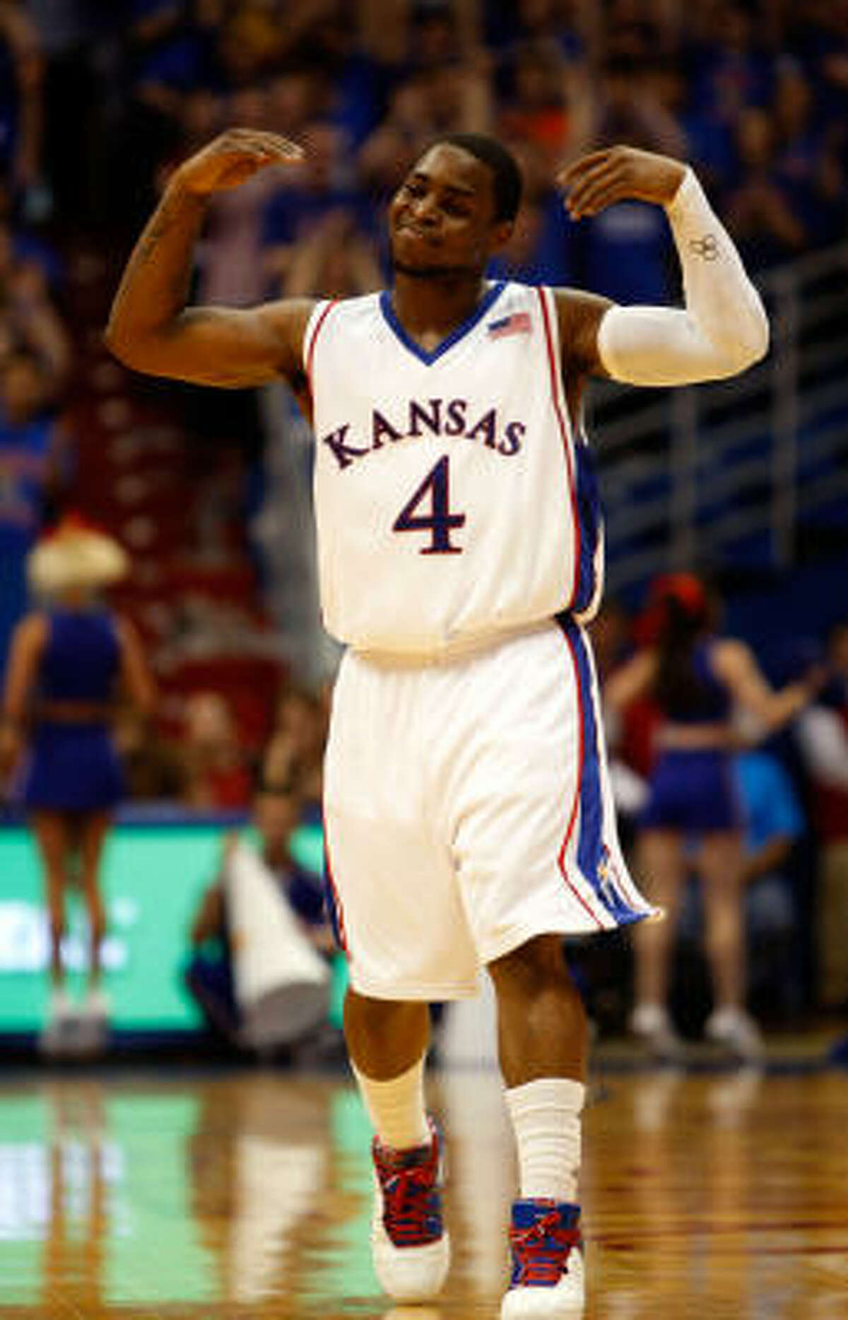 Kansas: (25-6): The defending national champion Jayhawks clinched their fifth straight Big 12 regular-season title and ninth in the league's 13-year history. Guard Sherron Collins (photo), a first-team All-Big 12 pick, is averaging 21.6 points in the last six games. Center Cole Aldrich is averaging 14.8 points and 10.5 rebounds.