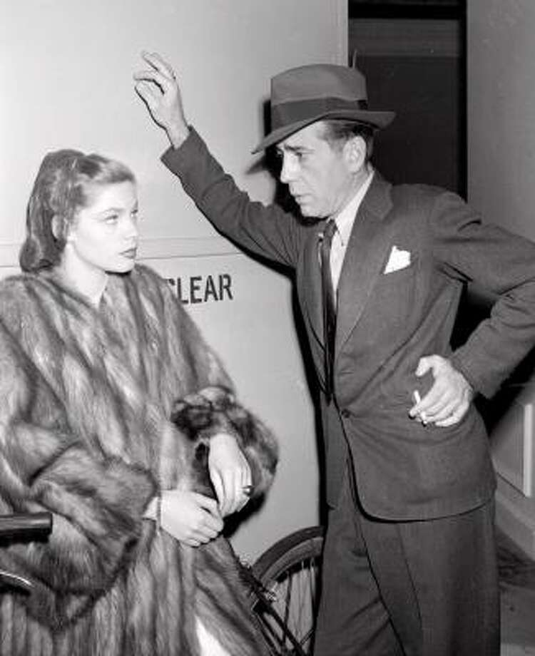 "Humphrey Bogart and Lauren Bacall at about the time they appeared together in the 1946 film ""The Big Sleep."" Photo: AP"