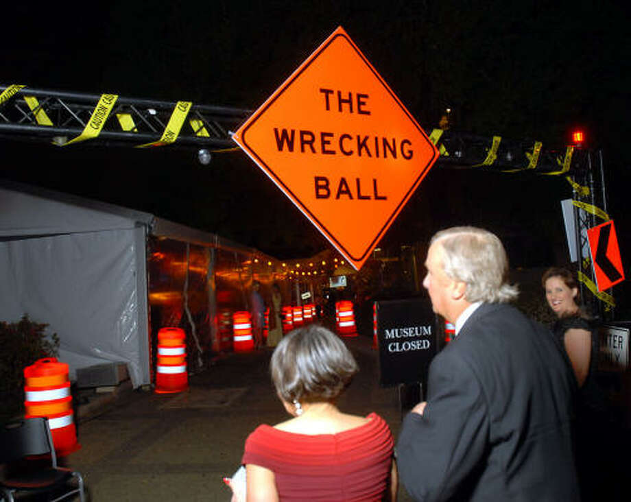 "Guests enter the ""Wrecking Ball"" at the Houston Museum of Natural Science. Photo: Dave Rossman, For The Chronicle"
