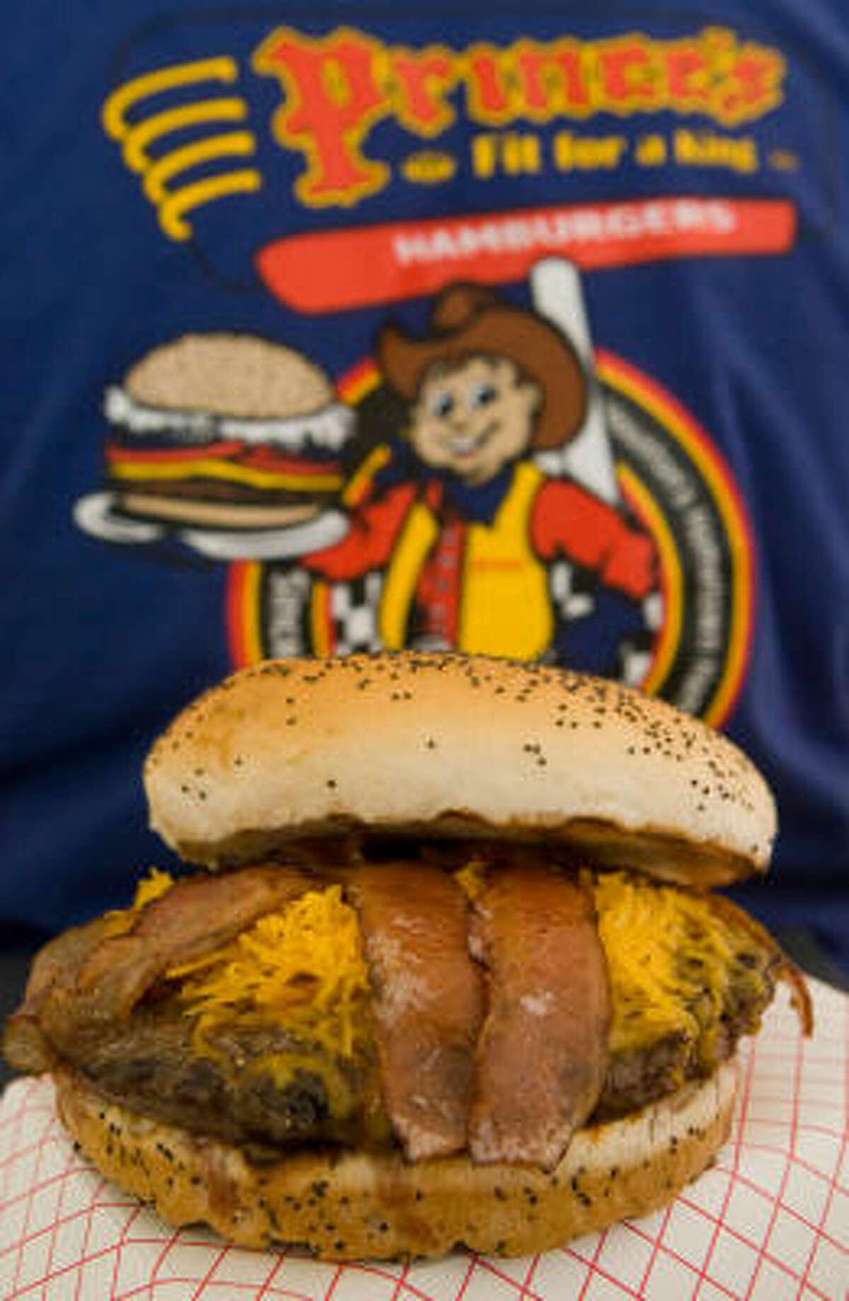 A bacon Cheeseburger from Prince's Hamburgers