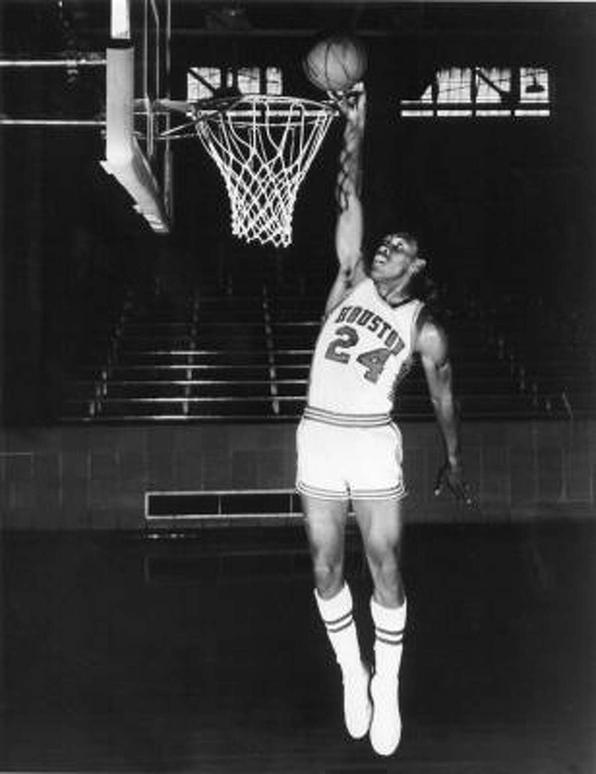 First game A crowd of 7,000 was on hand for the first game at Hofheinz Pavilion as Ollie Taylor (above) scored 29 points in an 89-72 win over Southwestern Louisiana.