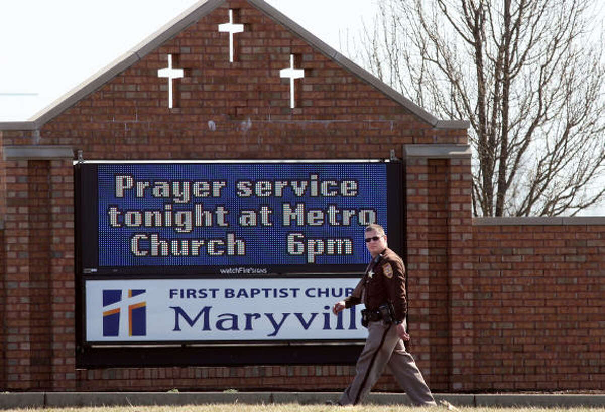 A prayer service is advertised at First Baptist Church in Maryville, Ill., on Sunday.