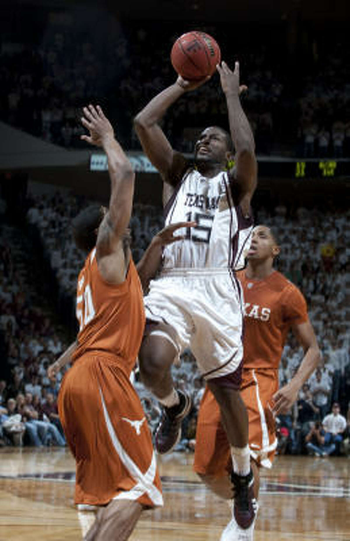 Texas A&M's Donald Sloan goes up for a shot during the Aggies' 81-66 win over the Longhorns on Feb. 16.