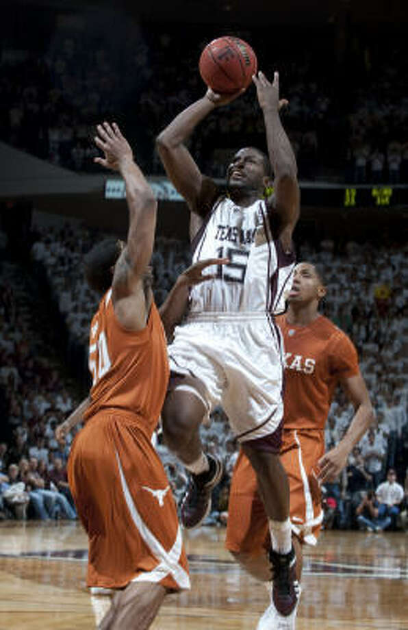Texas A&M's Donald Sloan goes up for a shot during the Aggies' 81-66 win over the Longhorns on Feb. 16. Photo: Wade Barker, AP