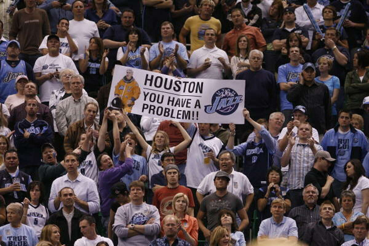 2008 PLAYOFFS - Utah Jazz fans taunt the Rockets during Game 6 of their first-round playoff series last season.