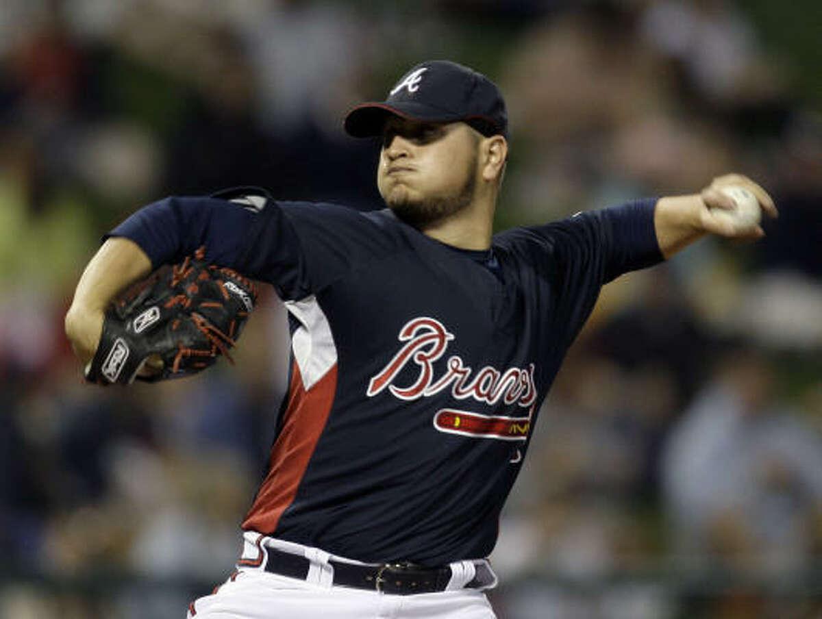Atlanta Braves starting pitcher Jo-Jo Reyes throws during the first inning.