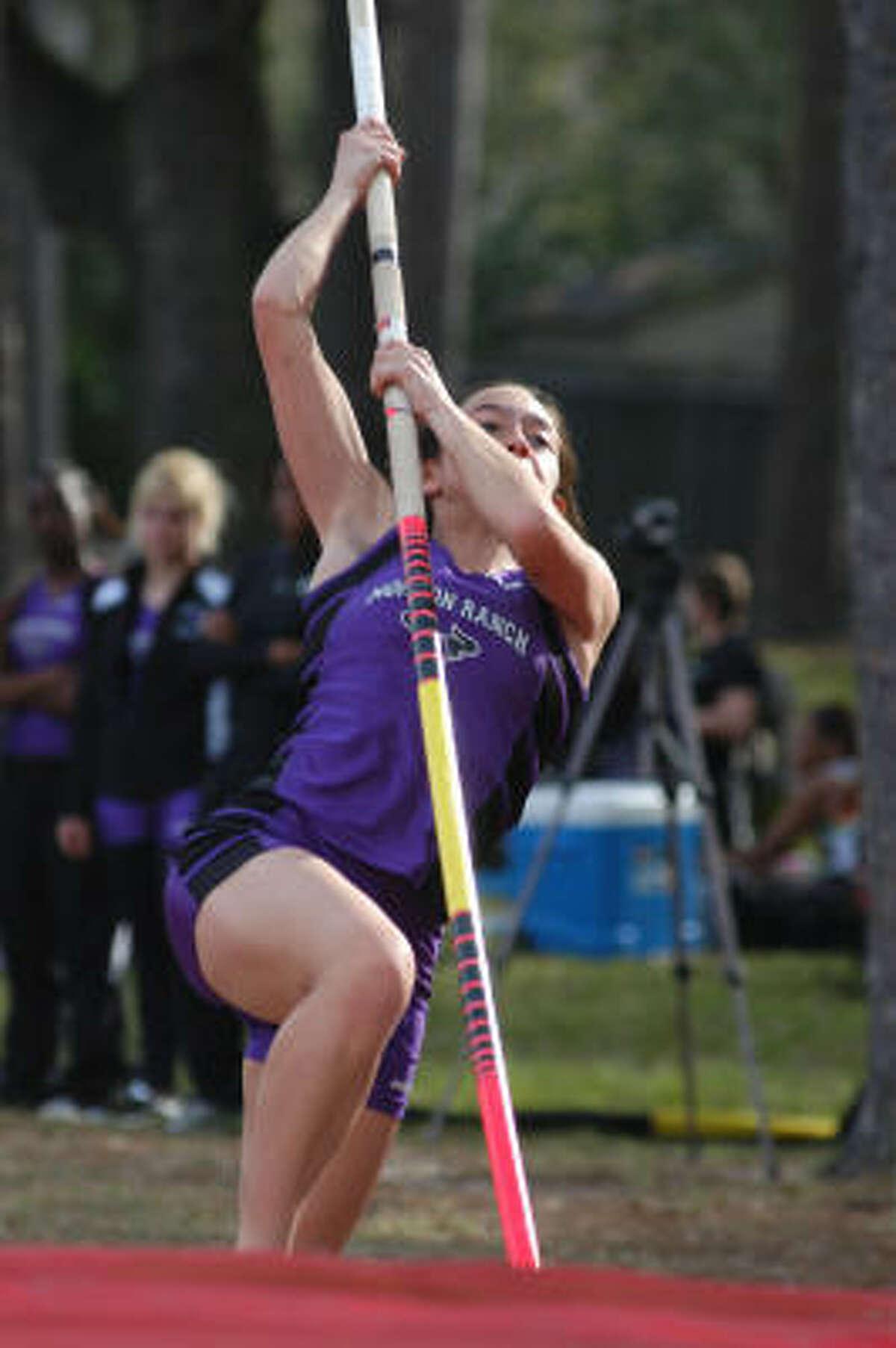 Morton Ranch's Meagan Burciaga was third in girls pole vault.