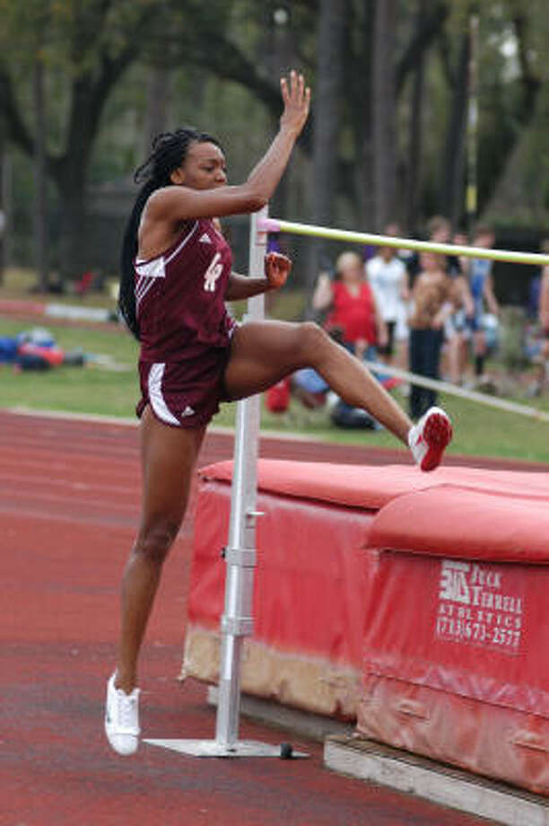 Cinco Ranch's Sonate Dan Princewill won the girls high jump. Princewill won using an unusual style where she literally steps over the bar. Photo: L. Scott Hainline, For The Chronicle