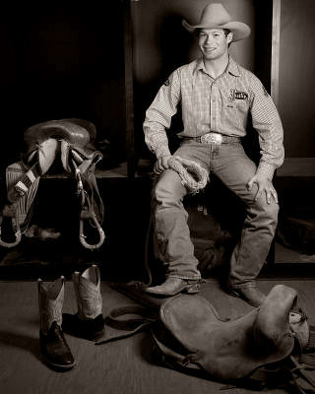 Heith DeMoss, a saddle bronc rider from Heflin, La.