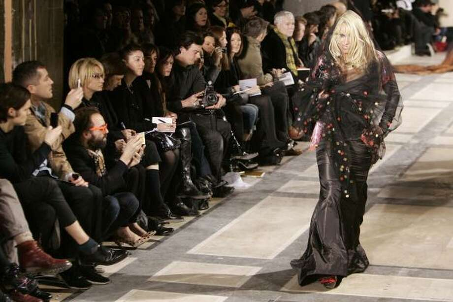 Canadian-born actress Pamela Anderson wears a creation for British fashion designer Vivienne Westwood's Fall-Winter 2009-2010 ready-to-wear collection in Paris Friday. Photo: FRANCOIS MORI, Associated Press