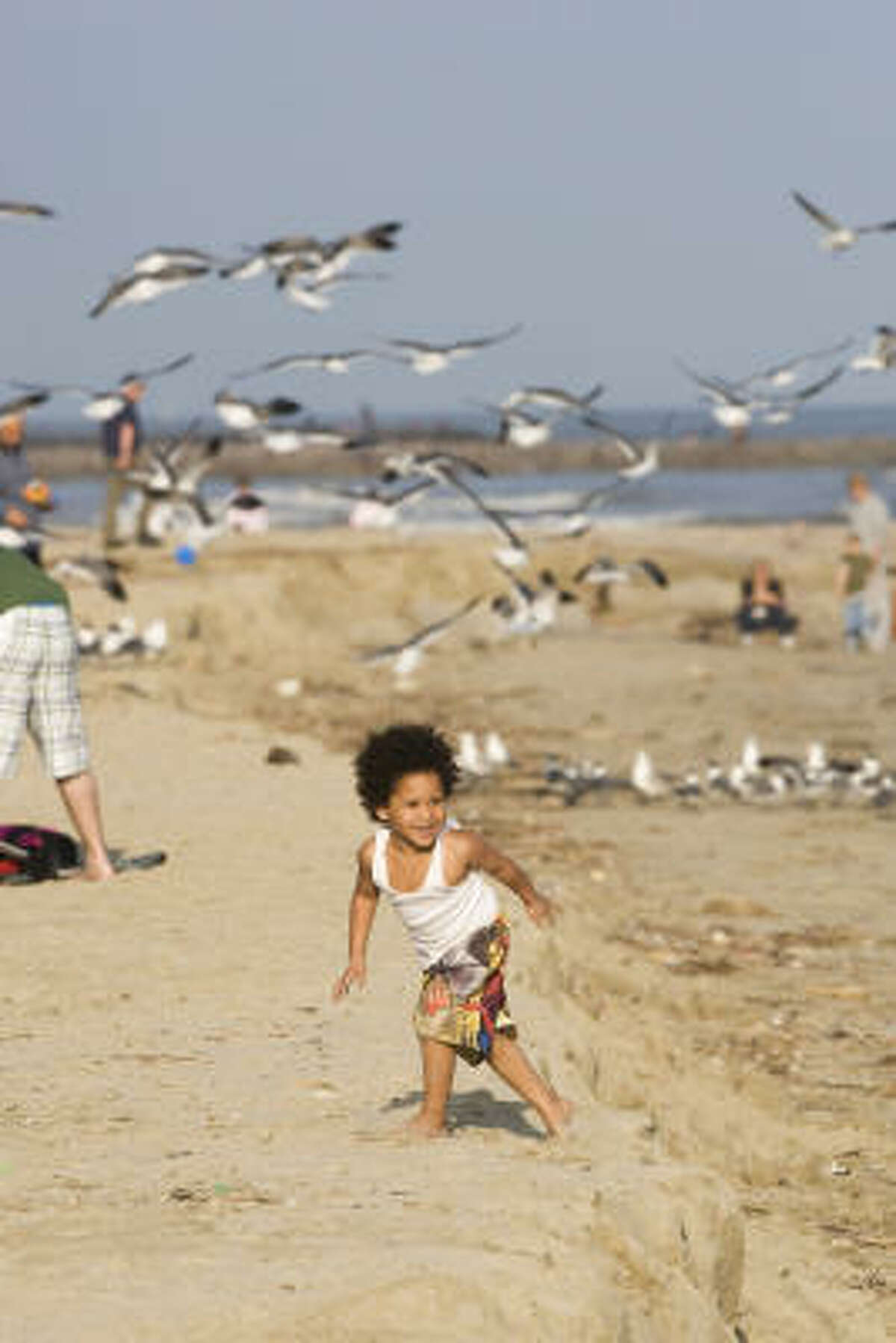 Pearson Williams, 3, plays on a beach in Galveston. A renourishment project is pumping sand to fortify the beaches, making them bigger.