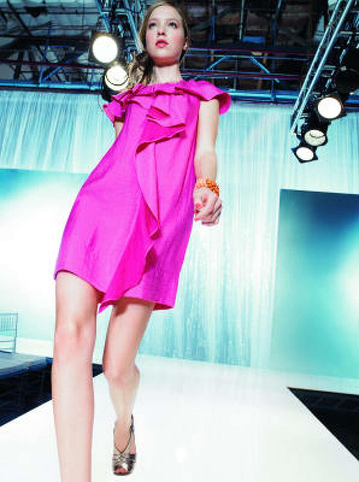 BCBG Max Azria cascading ruffle shift dress in bright raspberry, $218, Nordstorm.