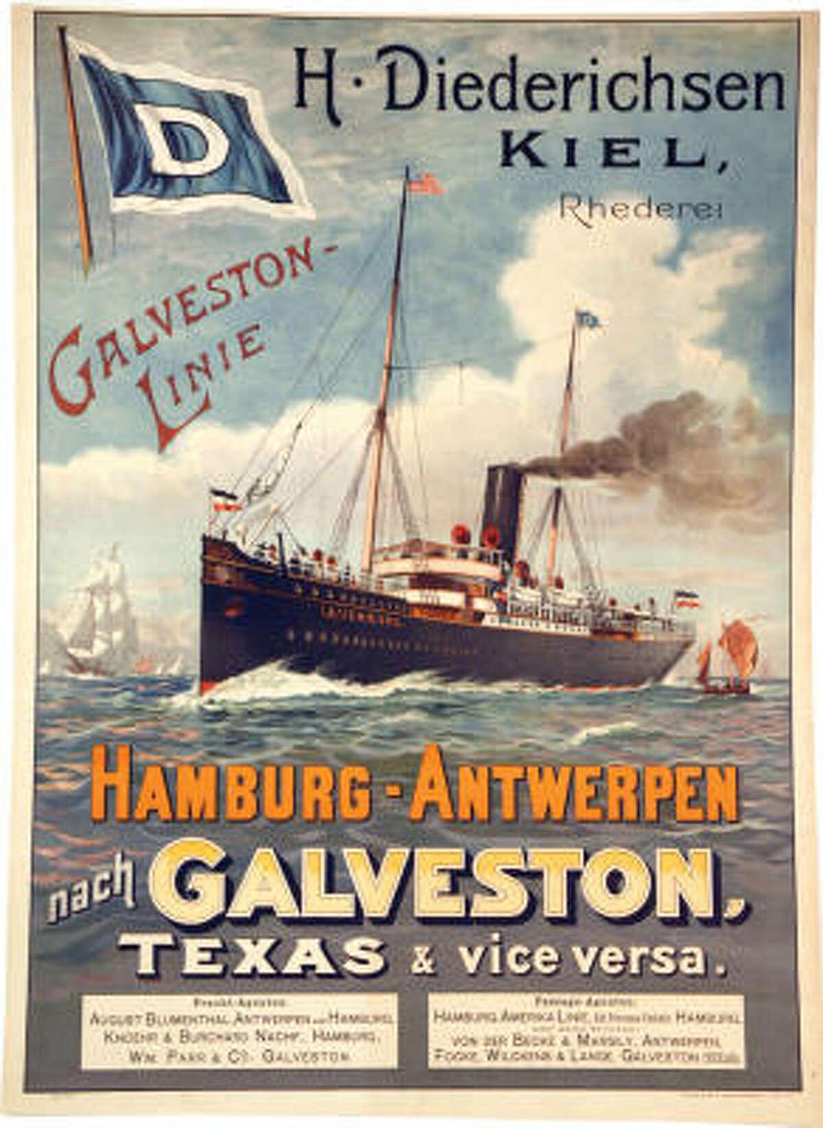 A Hamburg-Antwerpen poster touts Galveston.