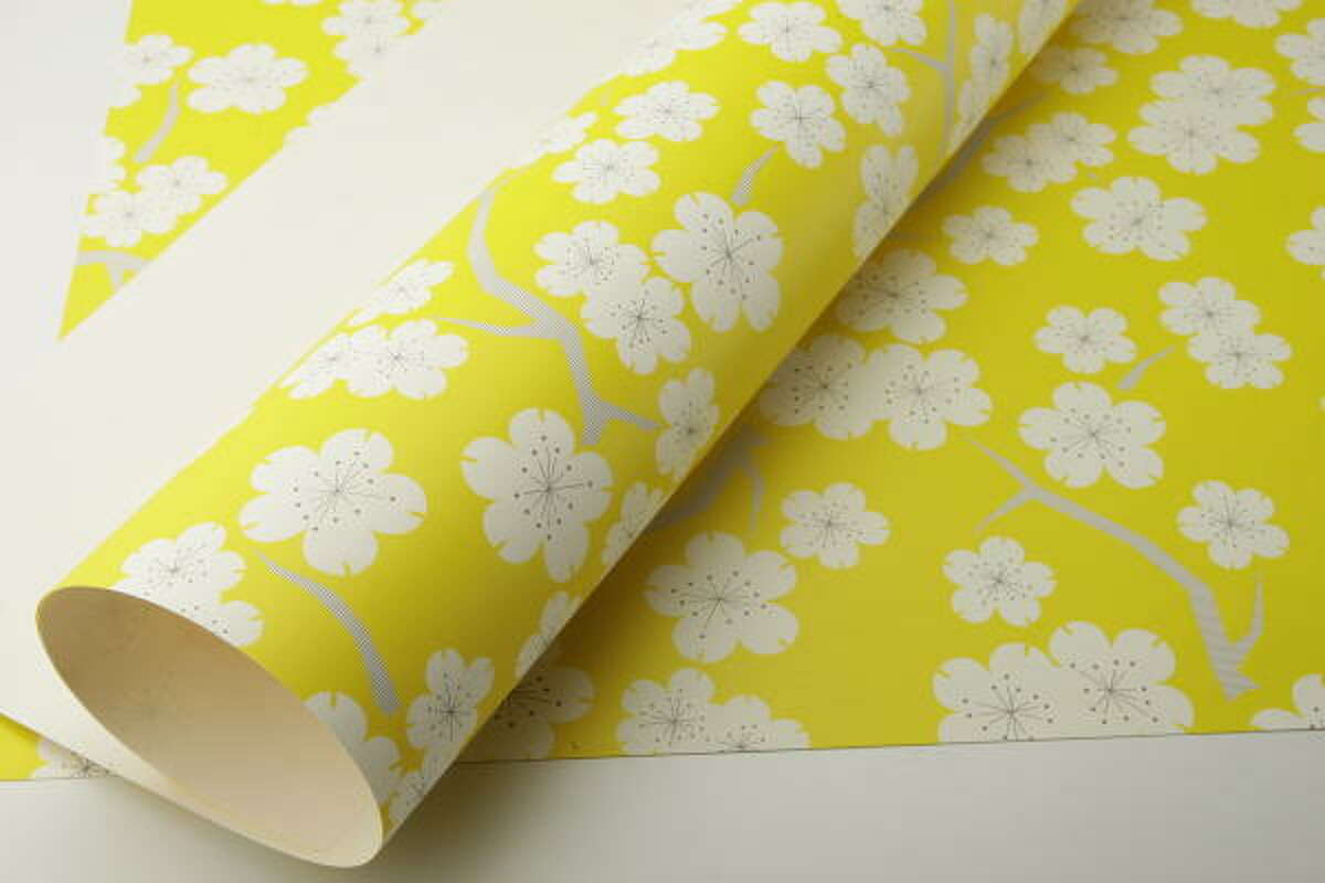 Snow & Graham golden cherry wrapping paper, $3 per sheet, PH Design Shop, 3306 South Shepherd Dr.