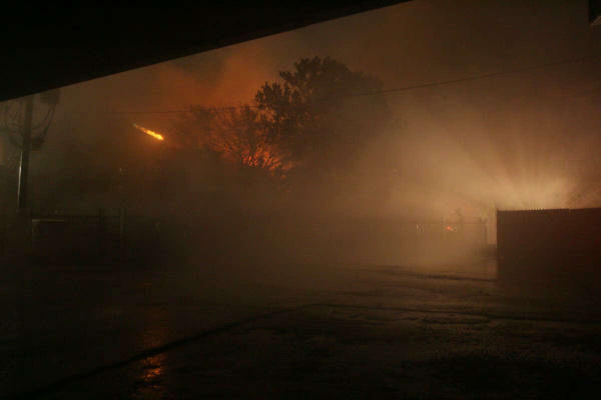 The fire raged as Hurricane Ike was weakening.